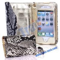 China Snake Skin Leather Case for iPhone 4/iPhone 4S (White) wholesale