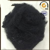 China Black Recycled Polyester Staple Fiber , Polyester Yarn Raw Material 1.5D-20D on sale