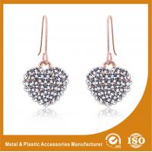 China Custom Nice Hook Design Silver Heart Metal Stud Earrings For Wedding wholesale