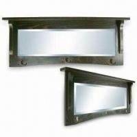 China Wooden Framed Wall Mirror with Hooks and FSC Mark, Various Sizes and Colors are Available wholesale