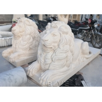 China Marble Lion Statues Life Size Stone Garden Animal Sculpture Outdoor Decorating Hadcarved wholesale