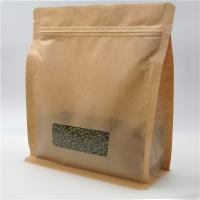 China Square Brown Kraft Paper Bag With Clear Window , Zip Lock Coffee Pouch wholesale