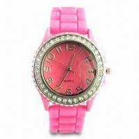 China Waterproof Silicone Wristwatch with Diamond, Customized Logos and Designs are Welcome wholesale