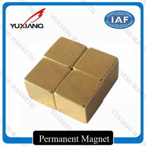 China 5*5*5mm Magic Neodymium Permanent Magnets Cube Gold Coating / Plating on sale
