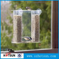 China Wholesale acrylic window bird feeder with drain holes, removable tray and water trays ,strong suction cups new wholesale