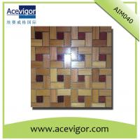 China Interior teak wood mosaic wall tiles for indoor decoration wholesale
