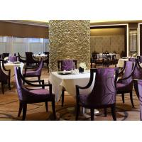 China Burgundy Purple Fabric Hotel Restaurant Furniture Solid Wood Dining Arm Chair wholesale