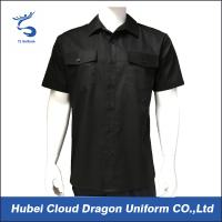 Black 100% Polyester Silky Security Guard Shirts , Short Sleeve Work Shirts For Men