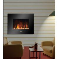 "China 26""Black Flat Tempered Glass Wall Mounted Electric Fireplace Heater(Pebbles Fuel) LED flame EF451S remote control base wholesale"