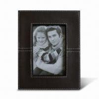 China Leather Photo Frame with FSC Mark, Made of Wood, Available in Various Sizes and Colors wholesale