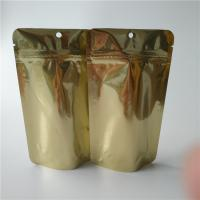 Quality Logo Custom Stand Up Coffee Pouches , Gold Metallic Ziplock Food Packaging Bags for sale