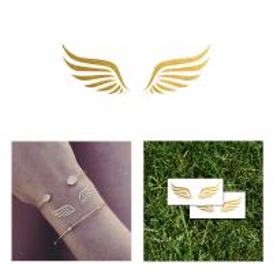 China Customized Wings Gold Metallic Foil Tattoos Fashion Wrist Jewelery wholesale