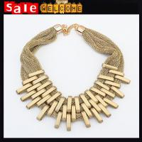 China Statement Big Golden Chunky Twisted Weave Short Punk Rock Necklace Pendant Club Chain Gift on sale