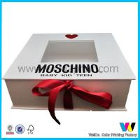 Quality White Rigid Cardboard Paper Packaging Box with Red Ribbon and Clear Window on Top for sale