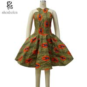 China Summer Women African Print Dresses Knee Length Brown Bird Print Kitenge wholesale