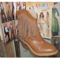 China 2014 western wear genuine leather tassels ankle boots, cowboy style Wooden Heel short boot on sale