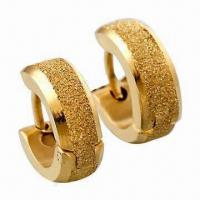 China Hoop Earrings, Made of Titanium and 316L Steel, 18K Gold Plating wholesale