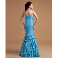 Quality Albizia Spaghetti Strap Blue Chiffon Mermaid Floor Length Prom Dress for sale