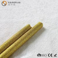 China Gold Glitter LED Taper Candles With Timer , Flameless Real Wax Candle wholesale