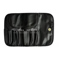China Travel Black Faux Leather Makeup Brush Case Bag Holder Roll Pouch Tool on sale