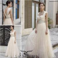 China beige tulle empire wedding evening dresses,  affordable floor length pageant evening dresses wholesale
