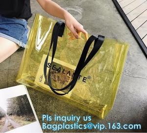 China Promotional PVC Clear Beach Towel Bags, PVC reusable beach bag, Sand Bags Cosmetic Bag Handbag, Handle bag/pvc handle ba wholesale