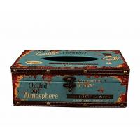 China Vintage Chic Shabby Wooden Tissue Box Holder Rectangle Handcraft on sale
