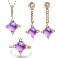 China Beautiful 925 Silver Gemstone Jewelry Set Amethyst Ring Earrings Pendant Necklace wholesale