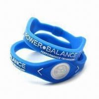 Buy cheap Silicone Bracelets with Two Visible Hologram Disks, Customized Colors and from wholesalers