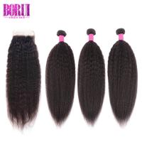 China 4*4 Closure Brazilian Virgin Human Hair Yaki Kinky Straight Human Hair Weft on sale