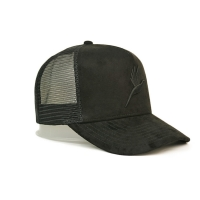 China custom-made 3D embroidery 5 panel suede trucker cap with plastic buckle wholesale