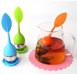 China BAP free tea infuser Cute silicone tea infuser leaf shape FDA silicone wholesale