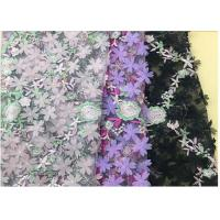 China 3D Flower Embroidered Stretch Mesh Fabric , Coloured Tulle Lace Fabric wholesale