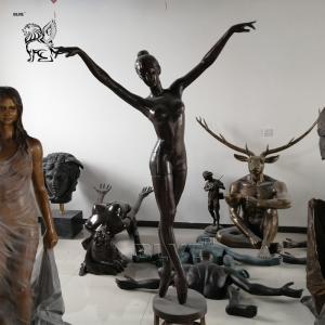 China Ballerina Girl Sculpture Bronze Dancing Fountain Life Size Modern Art Garden Decoration wholesale
