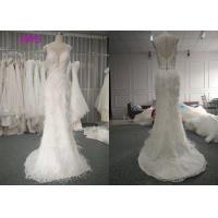 Quality Custom Made Luxury Real Beautiful Bridal Gowns Dresses 100% Feather Pearls Beading A Line for sale