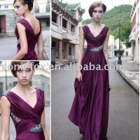 China deep v-neck wedding guest gowns,  purple beading wedding evening dresses wholesale