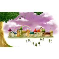 China Water Resistant Bamboo Fiber Wall Art Panels Cartoon Rainbow Castle wholesale