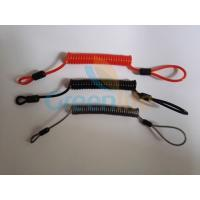 Flexible plastic customized size coil tether w/mini loop on two ends simple tool wire lanyards
