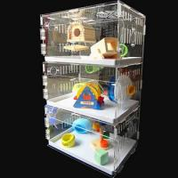 China acryl hamster cage,New style clear square household 3 steps acrylic hamster cage for sale with available price wholesale