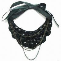 China Black Velvet Base with Black Acrylic Beads and Chains, Satin Ribbon at Each Side wholesale
