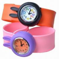 China Silicone Slap Watch w/ Rabbit Design, Customized Logos/Designs are Welcome, Good for Children Gifts wholesale