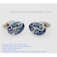 China Oval soft enamel French shirt cufflinks, silver plated oval cufflinks for men