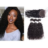 China Healthy Malaysian Curly Hair Bundles With Closure / 8A Malaysian Deep Curly Hair Weave wholesale