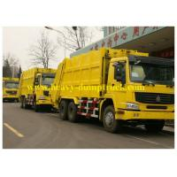 China Yellow Sanitation Garbage Truck  14 to 16 cbm 6X4 , Waste Collection Truck wholesale