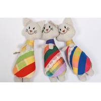 "China Soft Sculpture Handmade Linen Toys Soft Art Primitive 10"" Cat Embroidered Doll wholesale"
