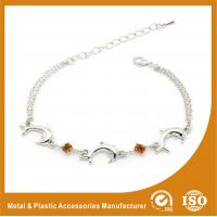 China Crystal Silver Personalized Metal Chain Bracelet , Engraved Metal Bracelets wholesale