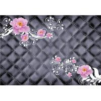 China Pink Roses 3D Bamboo Decorative Wall Panels Crystal Surface Environmental Protection wholesale