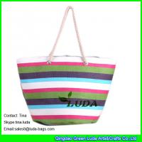 China LUDA colorful straw totes paper cloth fabric straw extra large beach bags on sale
