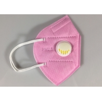 China Disposable GB2626-2006 KN95 Earloop Face Mask With Valve In Pink wholesale