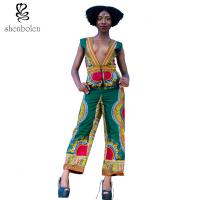 China Deep V Neck Sleevless African Wear Print Jumpsuit Designs For Womens / Ladies wholesale